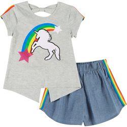Little Girls 2-pc. Rainbow Unicorn Tee & Shorts Set