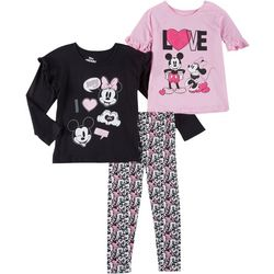 Disney 3-pc Little Girls Mickey & Minnie Love Leggings Set
