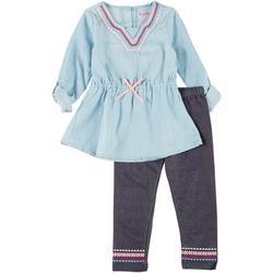 Nanette Little Girls 2-Pc Embroidered Leggings Set