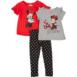 Disney Little Girls Minnie Mouse 3-Piece Leggings Set