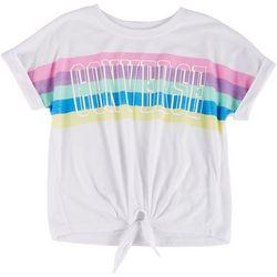 Big Girls Rainbow Tie Front Tee