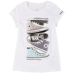 Converse Big Girls Shiny Sneaker Stack Tee