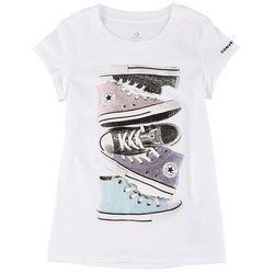 Big Girls Shiny Sneaker Stack Tee