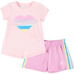 Converse Little Girls 2-pc. Graphic Heart Shorts Set