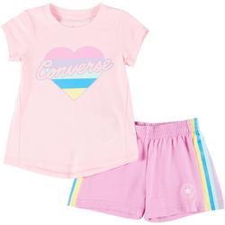 Little Girls 2-pc. Graphic Heart Shorts Set