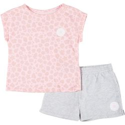 Converse Little Girls 2-pc. Leopard Print Top & Shorts Set