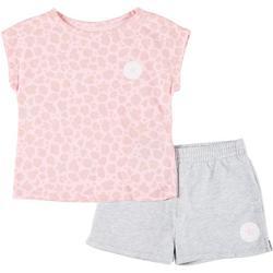 Little Girls 2-pc. Leopard Print Top & Shorts Set