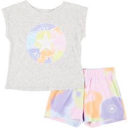 Little Girls 2-pc. Chuck Patch Tie Dye Shorts Set