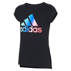 Adidas Big Girls Short Sleeve Side Vent Logo T-shirt