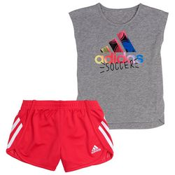 Adidas Little Girls Soccer Shorts Set