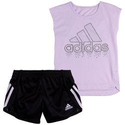 Adidas Little Girls Soccer Mesh Shorts Set