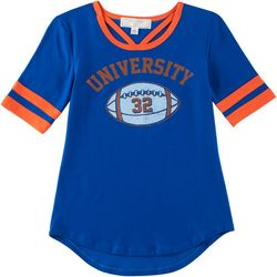 No Comment Big Girls University Game Day Blue T-Shirt