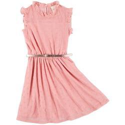 Little Girls Sleeveless Dot Mesh Dress