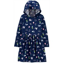 Carters Little Girls Unicorn Hooded Long Sleeve Dress