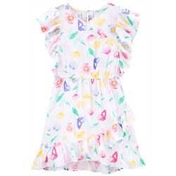 Carters Little Girls Floral Faux Wrap Dress