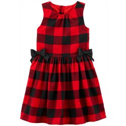 Little Girls Sleeveless Xmas Plaid Dress
