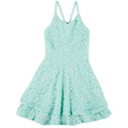 Emerald Sundae Big Girls Sleeveless Racerback Lace Dress