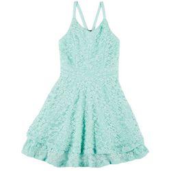 Big Girls Sleeveless Racerback Lace Dress