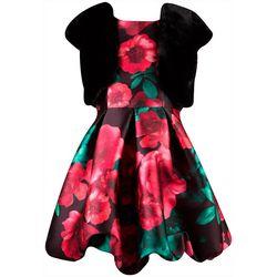Big Girls Floral Print Bubble Dress & Jacket