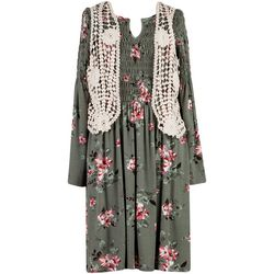 Big Girls Floral Smocked Dress And Vest