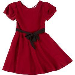 Big Girls Puff Sleeve Belted Dress