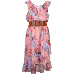 Big Girls Floral Corset Belt Dress
