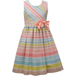 Bonnie Jean Little Girls Sleeveless Linen Stripe Dress