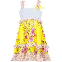 Little Girls Floral Ruffle Dress