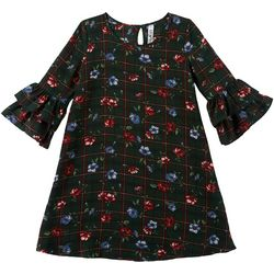 Beautees Big Girls Plaid Floral Print Ruffle Sleeve Dress