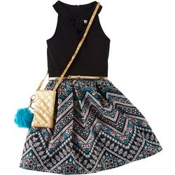 Knit Works Big Girls Chevron Print Halter Dress