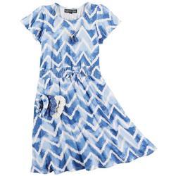 Big Girls Chevron Tie Dye Dress