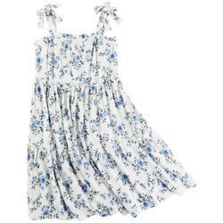 Big Girls Floral Rib Brush Dress