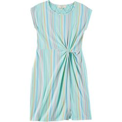No Comment Big Girls Striped Twist Front Dress