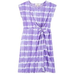 No Comment Big Girls Tie Dye Print Twist Front Dress