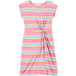 No Comment Big Girls Rainbow Stripe Twist Front Dress