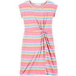 Big Girls Rainbow Stripe Twist Front Dress