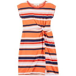 No Comment Big Girls Short Sleeve Striped Twist Front Dress