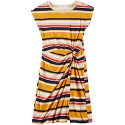 No Comment Big Girls Stripe Print Twist Front Dress