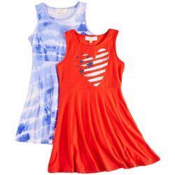 No Comment Big Girls 2-pk. Americana Heart Dress Set