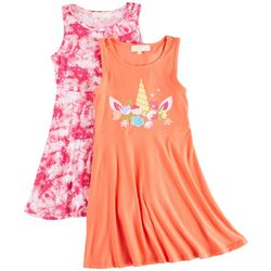 No Comment Big Girls 2-pk. Unicorn Tie Dye Dress Set