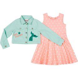 Little Lass Little Girls 2-pc. Polka Dot Dress & Jacket
