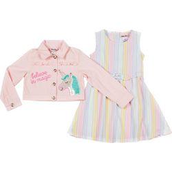 Little Lass Little Girls 2-pc. Striped Dress & Jacket