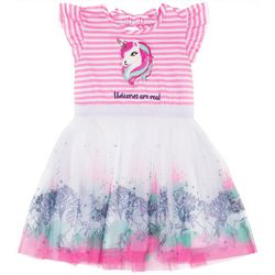 Little Lass Little Girls Striped Unicorn Tulle Dress