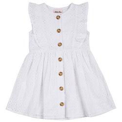 Little Lass Little Girls Eyelet Button Sleeveless Dress