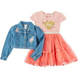 Little Girls 2-pc. Floral Tulle Dress & Jacket