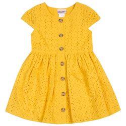 Little Lass Little Girls Eyelet Button Dress