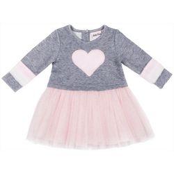 Little Lass Little Girls Furry Heart Tulle Dress
