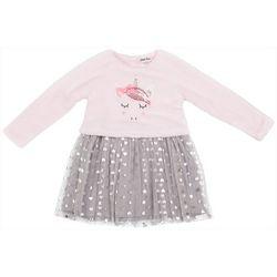 Little Girls Plush Unicorn Foil Heart Dress
