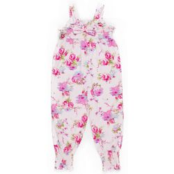 Little Girls Floral Jumpsuit