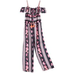 Little Girls Braid Strap Floral Jumpsuit